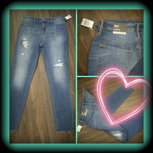 High-rise jegging  distressed look